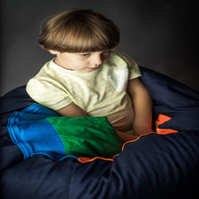Load image into Gallery viewer, boy sitting in the SENSORY TUNNEL made by sensory owl