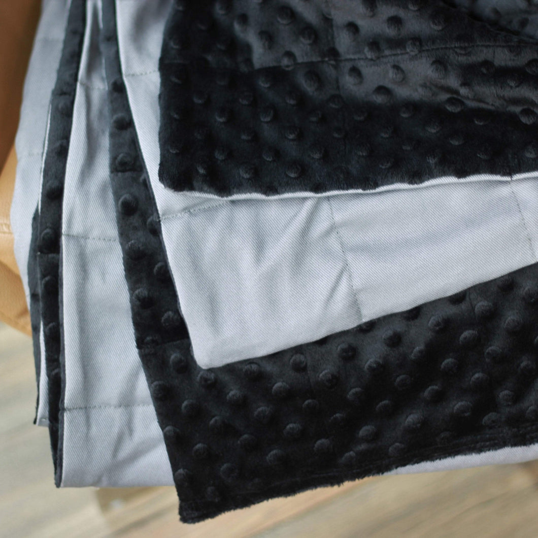 LIGHT GREY COTTON TOP AND BLACK MINKY BACKING WEIGHTED BLANKET