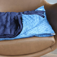 Load image into Gallery viewer, NAVY BLUE COTTON MINKY WEIGHTED BLANKET | SENSORY BLANKET