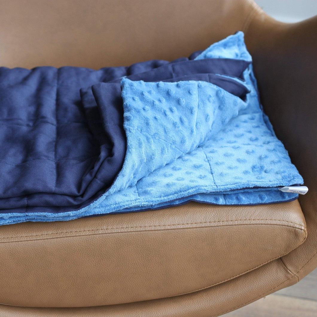 NAVY BLUE COTTON MINKY WEIGHTED BLANKET | SENSORY BLANKET