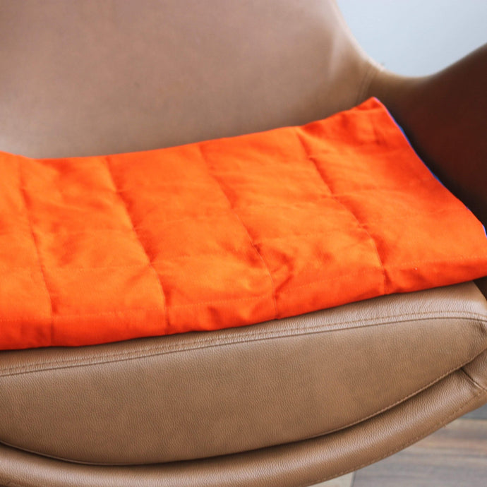 ORANGE cotton weighted blanket handmade by sensory owl