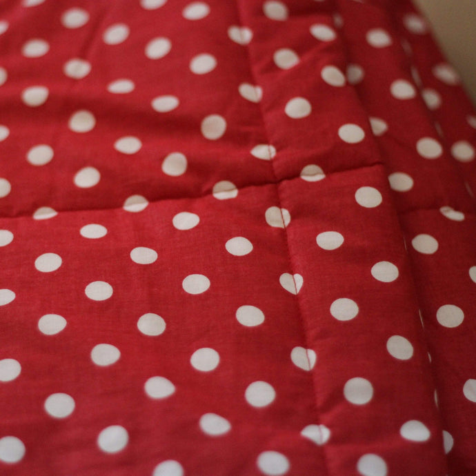 RED DOTTY VELVET WEIGHTED BLANKET