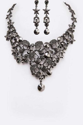 Crystal Skull Statement Necklace & Earrings Set