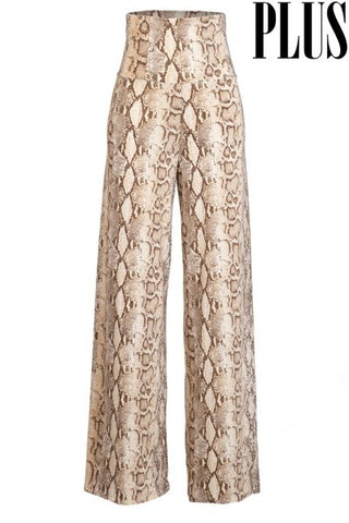 High Waisted Snake Print Flare Pants