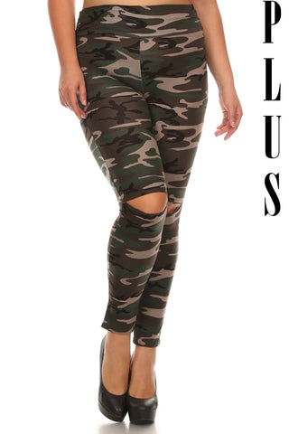 High Waisted Camo Knee Cut-Out Leggings