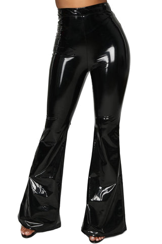 High Waisted Faux Leather Bell Bottoms