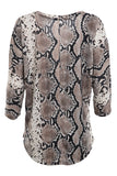 Snake Print 3/4 Sleeve V-Neck Top