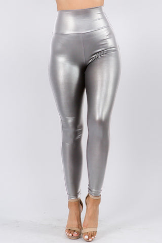 High Waisted Space Cadet Leather Like Leggings