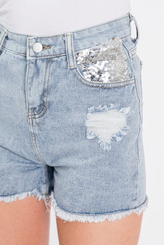 High Waisted Sequin Pockets Shorts