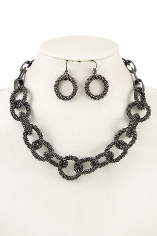 Textured Chain Link Necklace and Earrings Set