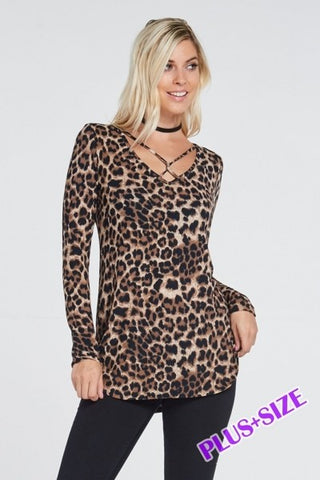 Leopard Print Criss Cross Top