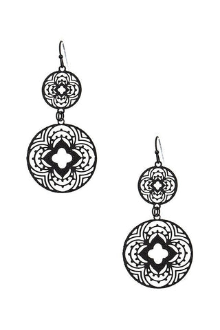 Black Floral Cut-Out Drop Earrings