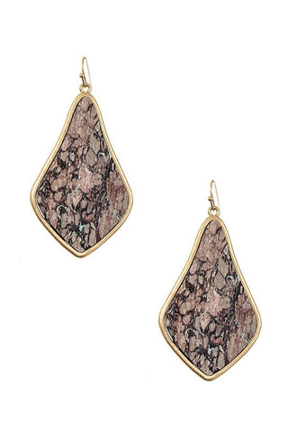 Mauve Wood Like Earrings