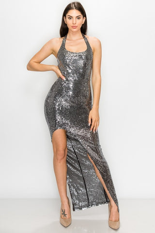 Black & Sliver Sequin Dress