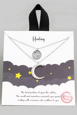 Crescent Moon & Evil Eye Necklace