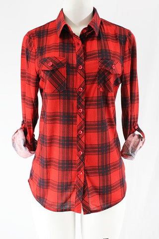Red and Black Plaid Button Down