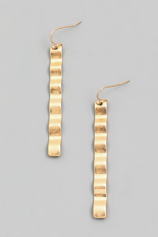 Hammered Gold Wave Earrings