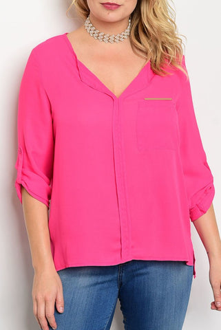 Fuchsia 3/4 Sleeve Gold Detail Blouse