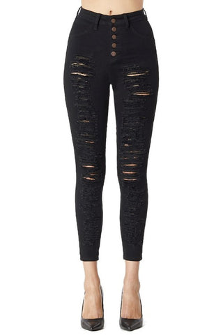 High Waisted 5 Button Distressed Jeans