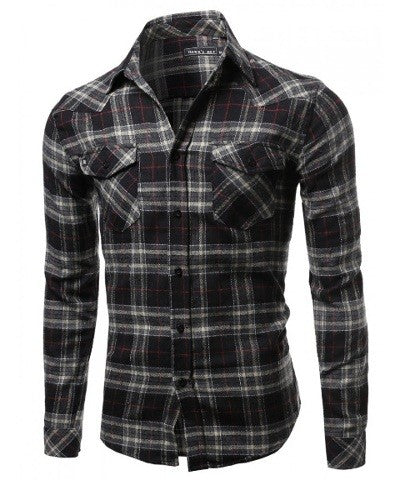Black Flannel Button Down