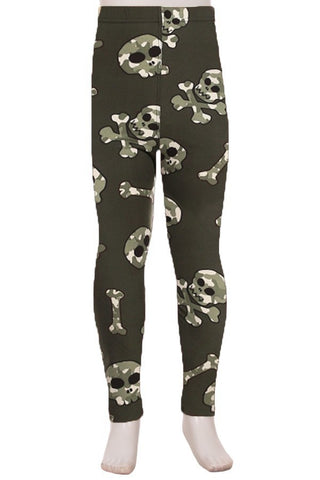Kids Camo Skull Leggings