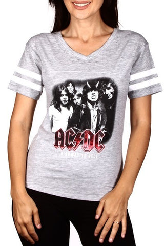 Grey AC/DC V-Neck Top