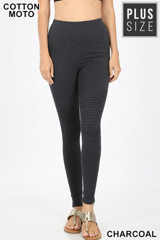 High Waisted Charcoal Moto Leggings