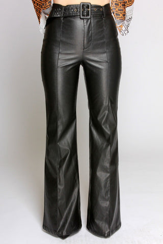 High Waisted Wide Leg Faux Leather Pants