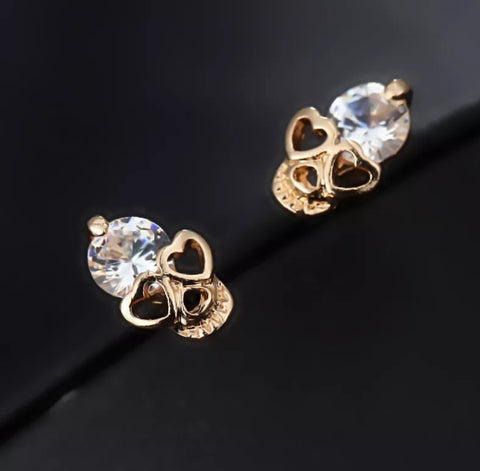 Silver or Gold Skull Stud Earrings