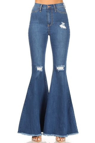 High Waisted Distressed Super Bell Bottoms