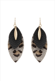 Genuine Leather Animal Print Earrings