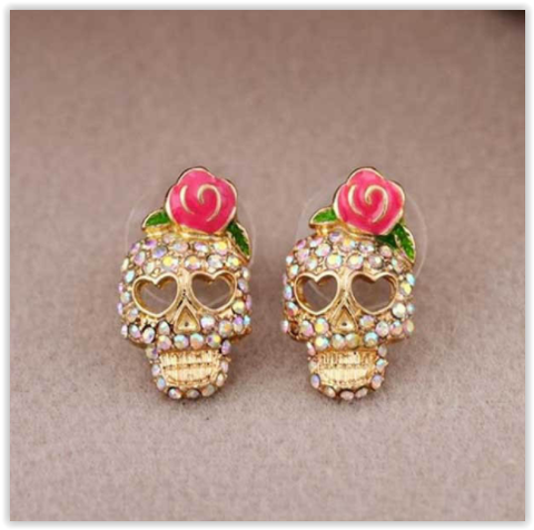 Flower Rhinestone Skull Stud Earrings