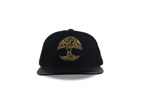 Tree of Life, Gold on Black (Leather Brim) Snapback
