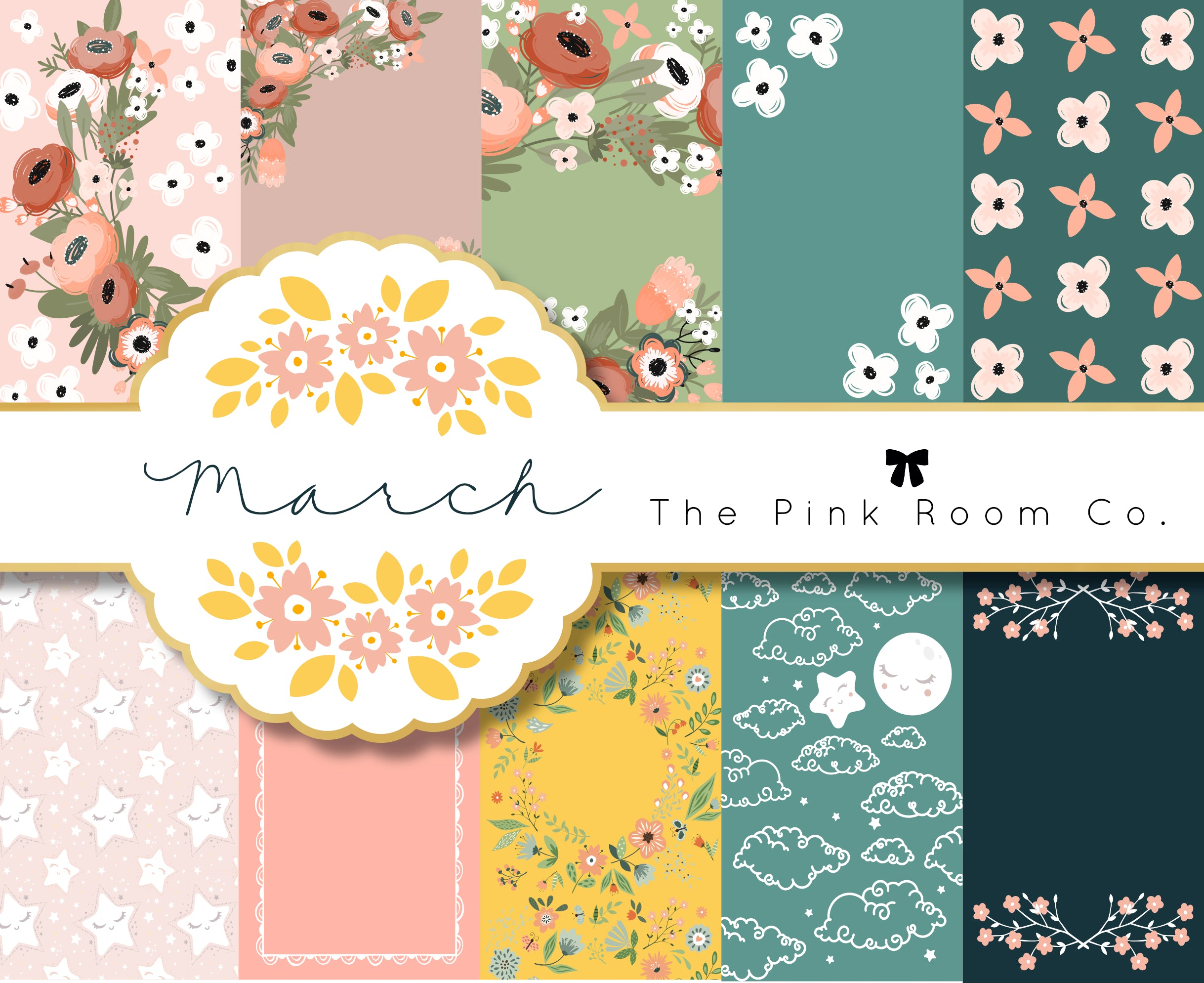 MARCH - 3 Foiled weekly kits from the MARCH 2020 Mystery kit collection