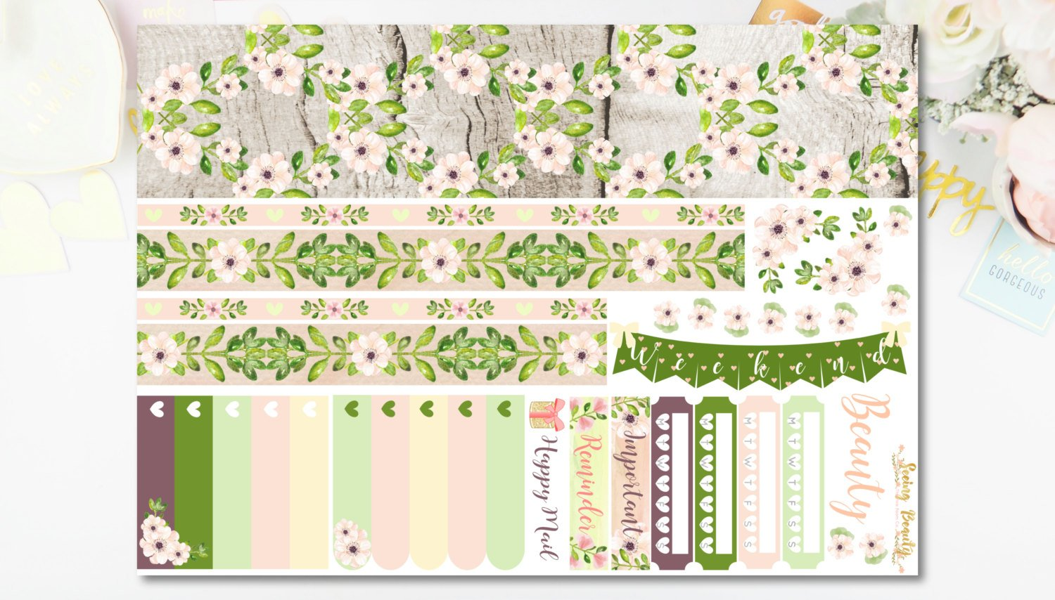 SEEING BEAUTY -  DELUXE Weekly Planner Sticker Kit