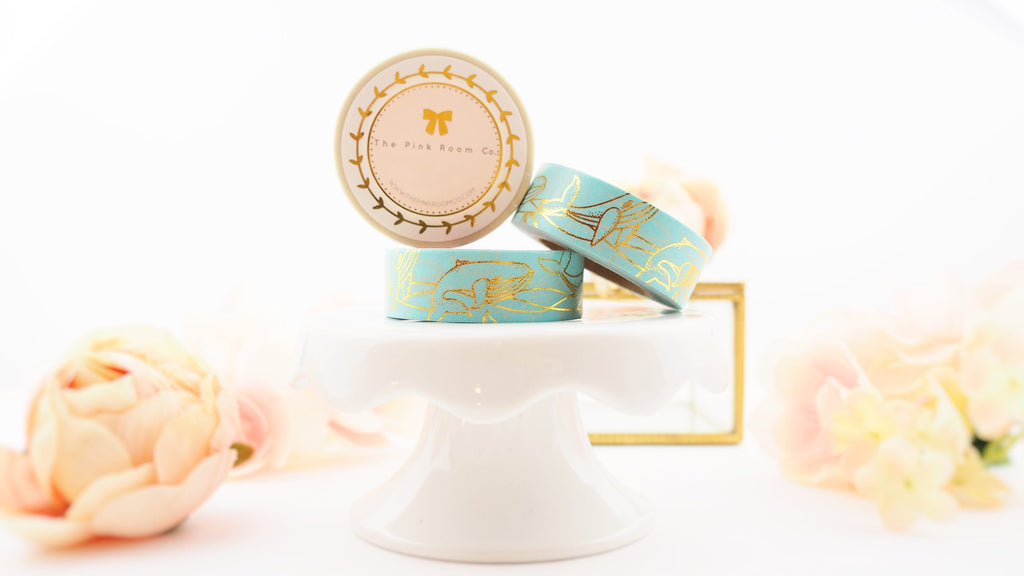 Golden Whale - Gold Foil Washi in Teal from ThePinkRoomCo
