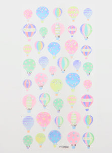 Hot Air Balloon Washi Stickers with Holographic silver foil -  from ThePinkRoomCo
