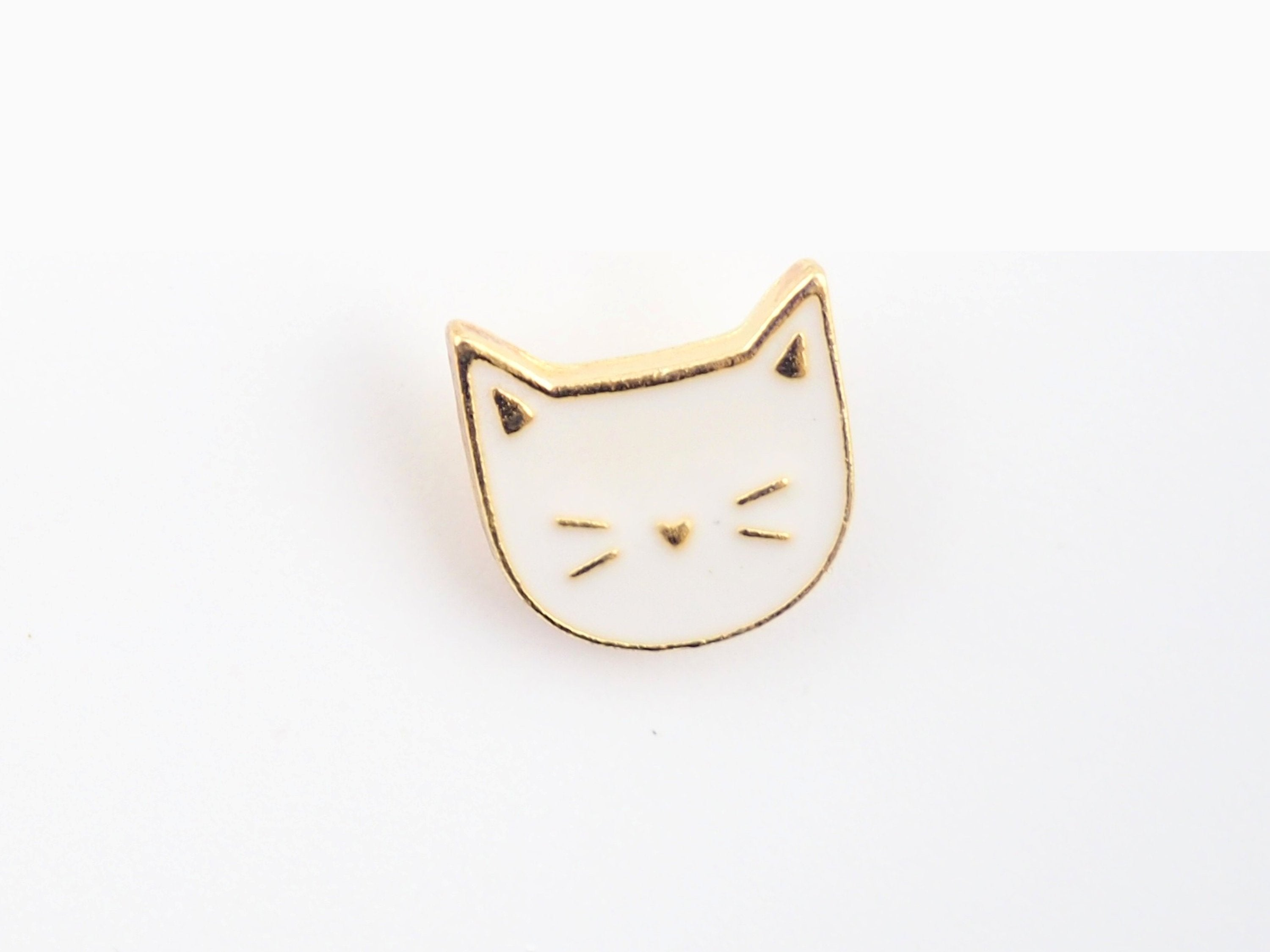 White Cat with face Enamel Pin