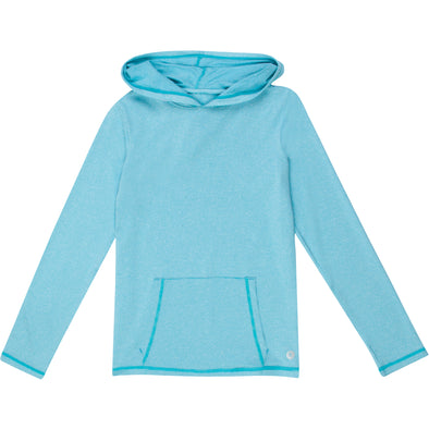 Kid's Long Sleeve Hoodie Sweatshirt - Aqua Blue