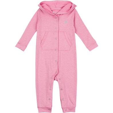 Baby & Toddler Long Sleeve Hooded Romper - Rose Pink