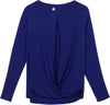 blue open back shirt women's