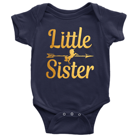 c1a9e5e99 Newborn Baby Shower Coming home Little Sister gold arrow unicorn Baby Girl onesies  Bodysuit outfit shirts
