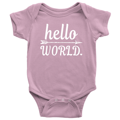 Newborn Baby Shower Coming Home Hello World Onesies Bodysuit Outfit