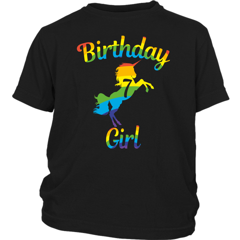 Children Unicorn 7th Birthday Girl Rainbow 7 Years Old T Shirts