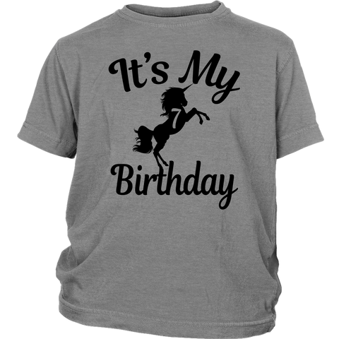 Children Magical Its My 7th Birthday Black Unicorns 7 Years Old T Shirts