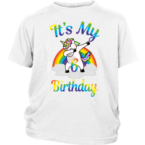 eb4b00b0e Children Magical It's my 6th Birthday dabbing unicorn rainbow 6 Years Old T- shirts -