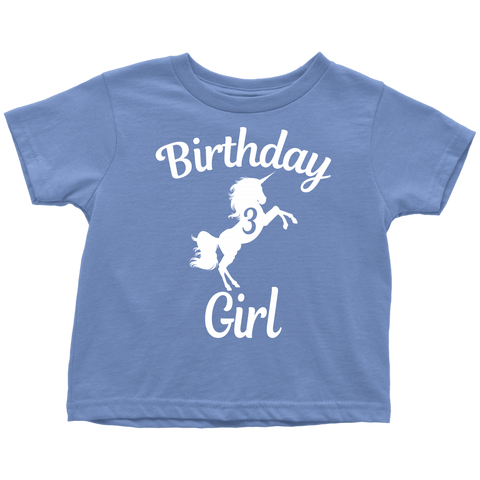 Teelaunch T Shirt Toddler Baby Blue 2T Unicorns 3rd Birthday