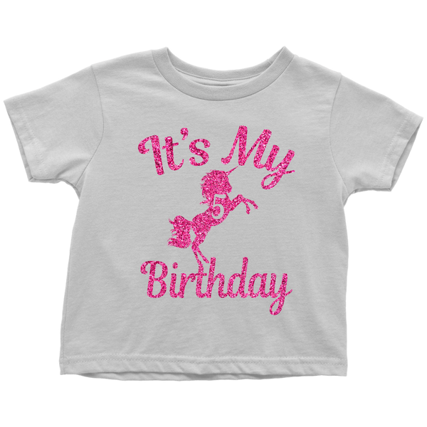 Magical Its My 5th Birthday Pink Unicorn 5 Years Old Toddler Shirt Unicorns Field