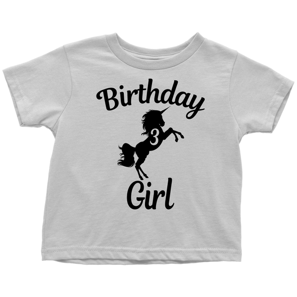 Teelaunch T Shirt Toddler White 2T Unicorns 3rd Birthday Girl