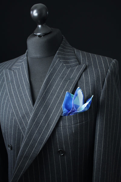 Best Silk Pocket Square - 40cm x 40cm - Blue  - Men's Finest